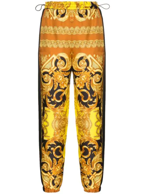 Versace Baroque-Print Silk Track Trousers In Black