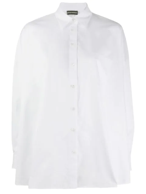 Emporio Armani Ruched Back Stretch Cotton Poplin Long Sleeve Blouse In White