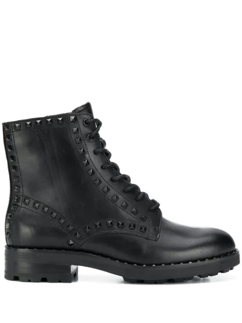 Ash Wolf 01 Combat Boots In Mustang Black