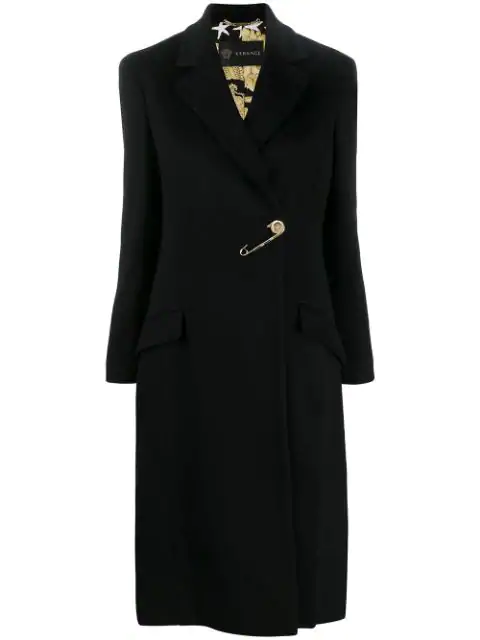 Versace Safety Pin Barroco Lining Coat In Black