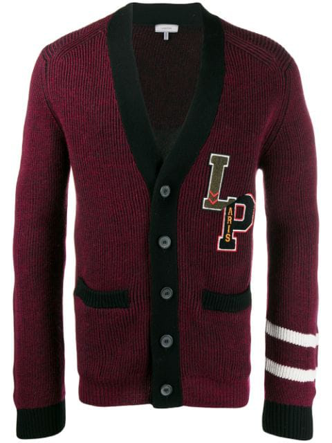 Lanvin Patted Ribs Patched Badge Cardigan In 3910 Burgundy Black