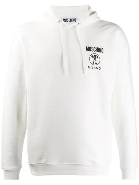 Moschino Double Question Mark Hoodie In Grey