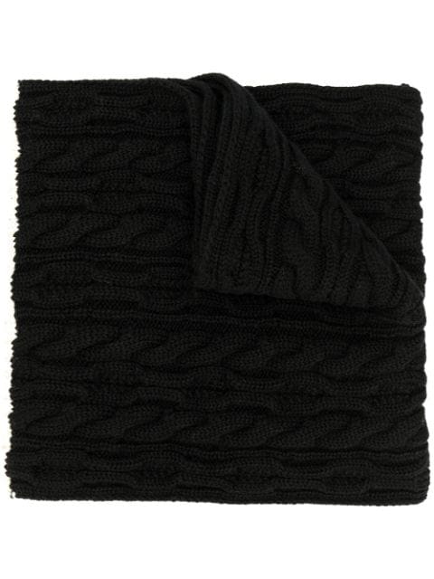 Saint Laurent Oversized Cable Knit Scarf In Black