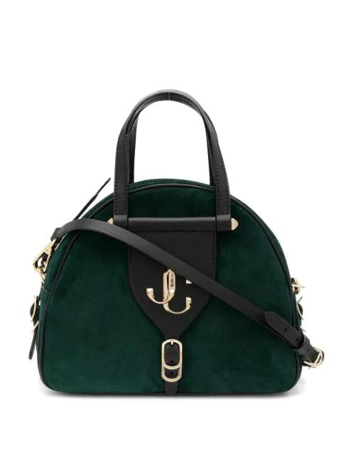 Jimmy Choo Medium Suede Varenne Bowling Bag In Dark Green/Black