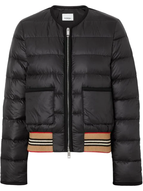 Burberry Icon Stripe Detail Down-Filled Puffer Jacket In Black
