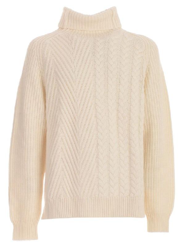 Haider Ackermann Sweater L/S Over Turtle Neck In Invidia White