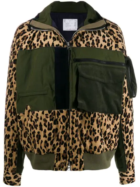 Sacai Panelled Leopard-print Corduroy And Cotton-blend Jacket In 651 Beige