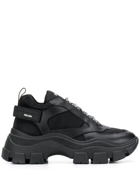 Prada Suede And Rubber-trimmed Leather And Nylon Sneakers In Black