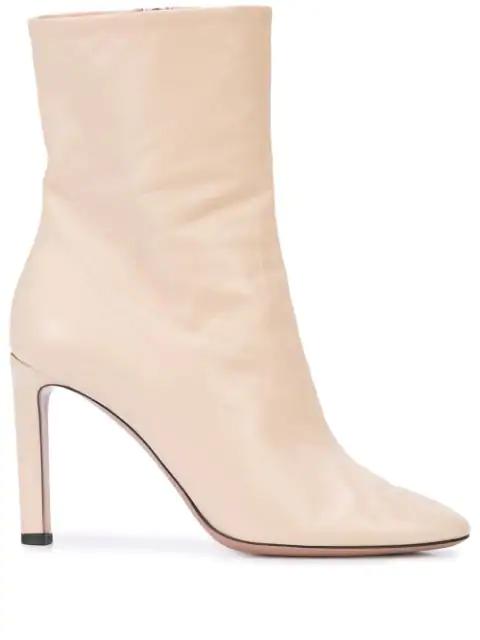 Oscar De La Renta High Heel Ankle Boots In Ivory