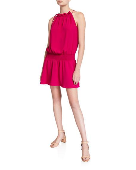 Amanda Uprichard Emlyn Sleeveless Tie-Neck Short Dress In Magenta