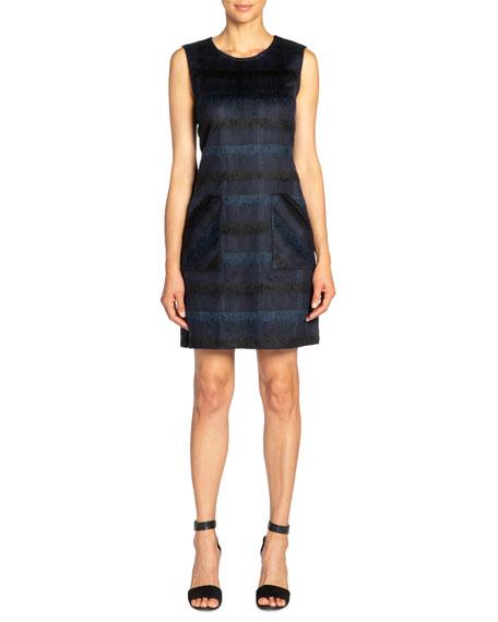 Santorelli Renee Tonal Plaid Wool Sleeveless Sheath Dress With Pockets In Navy