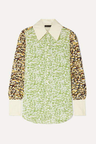 Stine Goya James Oversized Floral-print Crepe Shirt In Lime Green