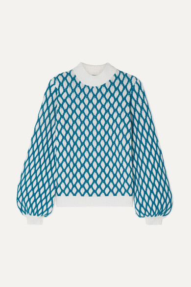 Stine Goya Carlo Two-tone Cable-knit Wool-blend Sweater In Sky Blue