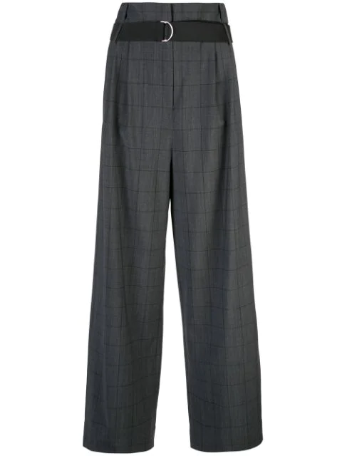 Tibi Stella Checked Wool-Blend Wide-Leg Trousers In Grey Multi