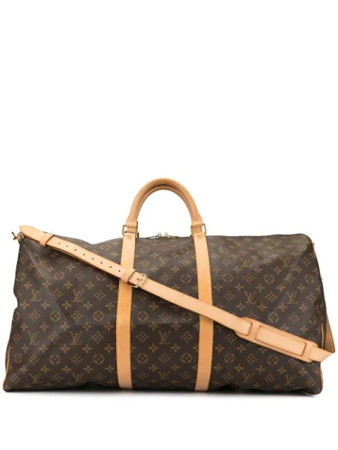 Pre-owned Louis Vuitton 2000 Keepall 60 Bandouliere Travel Bag In Brown