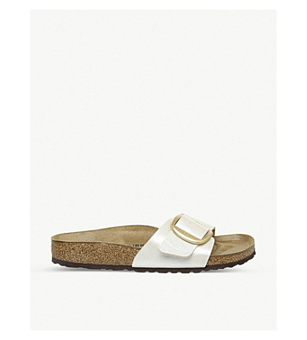 Birkenstock Madrid Big Buckle Faux-Leather Sandals In Graceful Pearl White