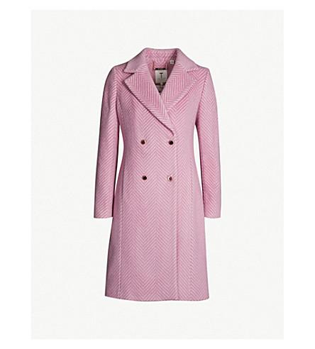 Ted Baker Saffra Chevron-Pattern Alpaca-Blend Coat In Light Pink