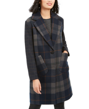 Kendall + Kylie Plaid Brushed Wool Coat In Navy Plaid