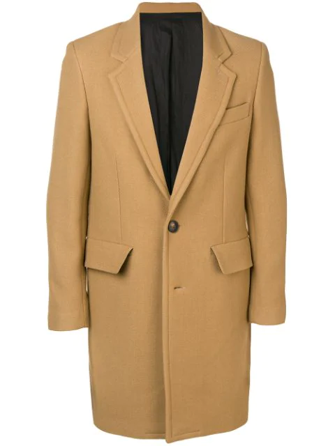 Ami Alexandre Mattiussi Lined Two Buttons Coat In Brown