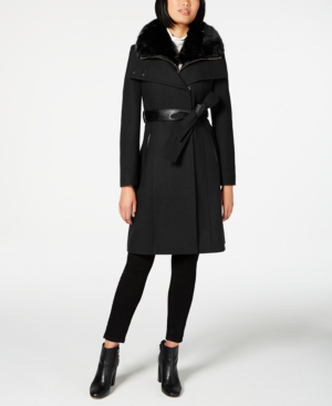 French Connection Faux-fur-collar Belted Coat With Faux-leather Trim In Black