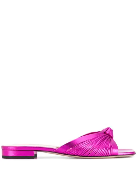 Gucci Metallic Leather Flat Sandals In Pink