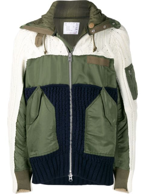 Sacai Panelled Zip-up Jacket In Green