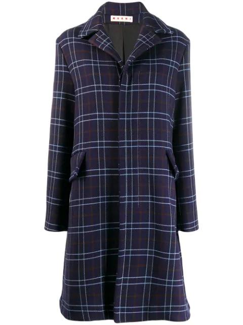 Marni Macro-check Single Breasted Coat In Blue