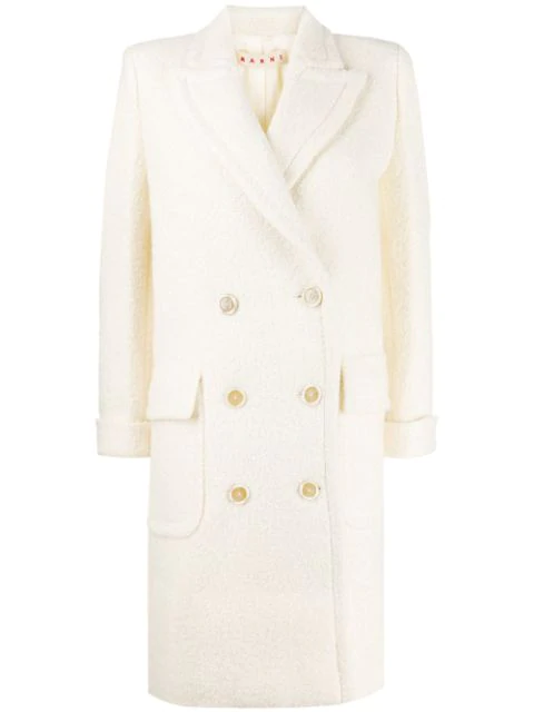 Marni Textured Double-breasted Coat In White