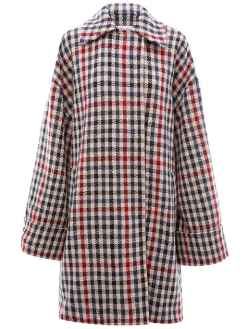 Jw Anderson Check Blanket Coat In Blue ,red