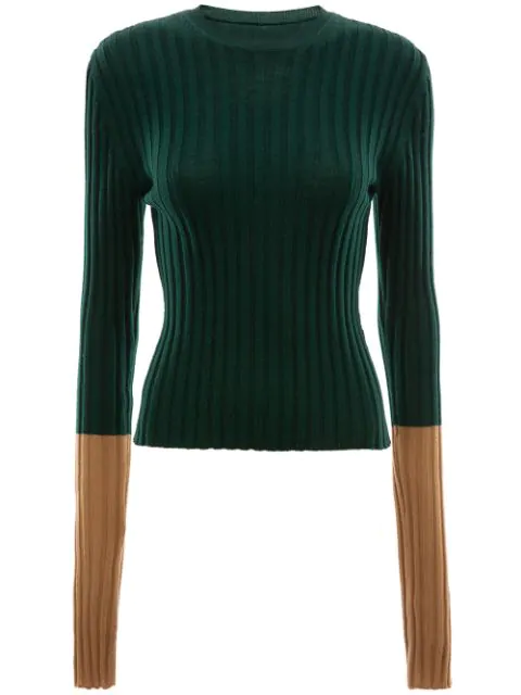 Jw Anderson Ribbed Contrast Sleeve Sweater In Green