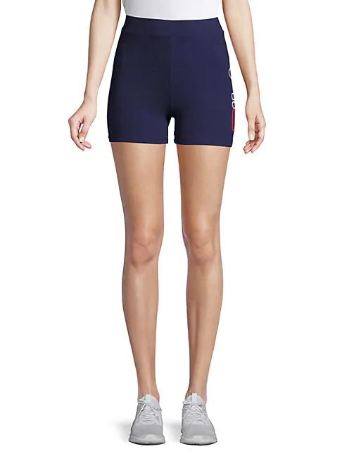 Fila Beatriz Logo Stretch Shorts In Peacoat