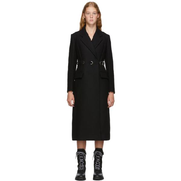 Prada Metal-buckle Single-breasted Wool Coat In Black