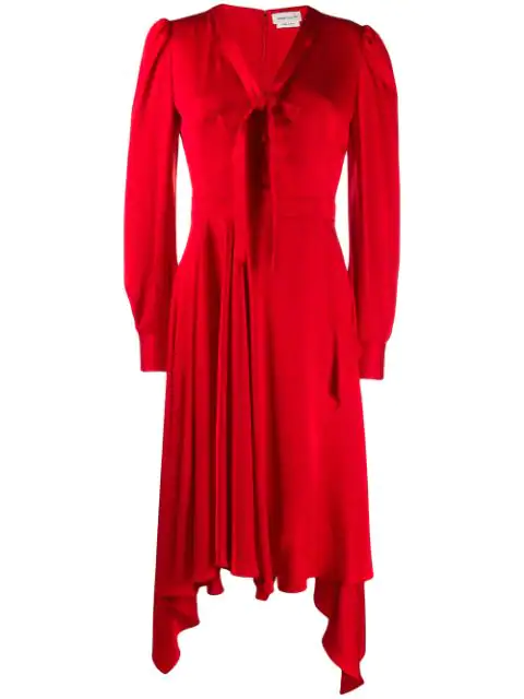 Alexander Mcqueen Draped Asymmetric Dress In Red