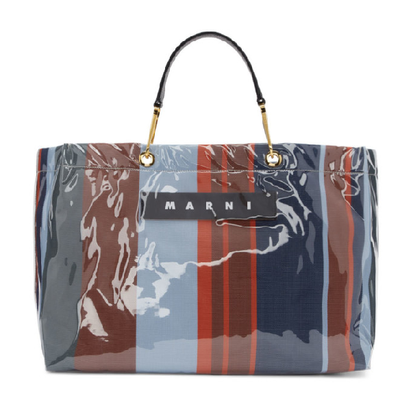 Marni Blue And Red Large Glossy Grip Shopping Bag In Str64 Lacqu
