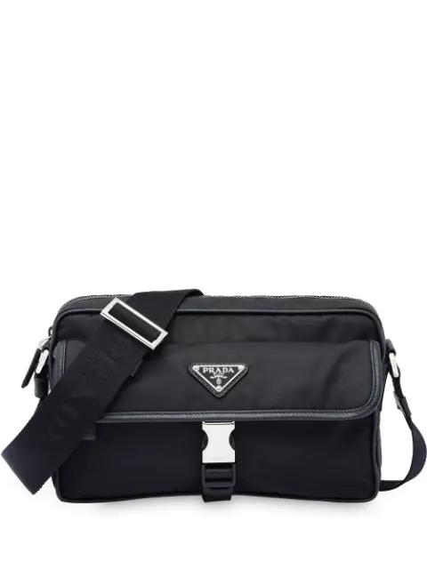 Prada Logo Plaque Messenger Bag In Black