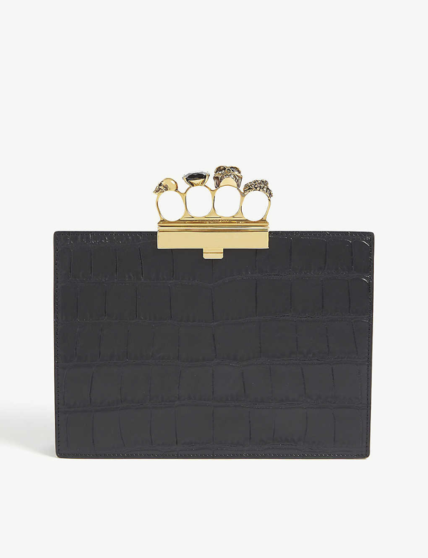 Alexander Mcqueen Four-ring Small Croc-embossed Leather Clutch In Black