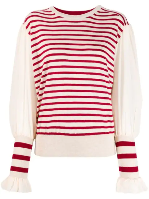 Tsumori Chisato Striped Knitted Top In Neutrals