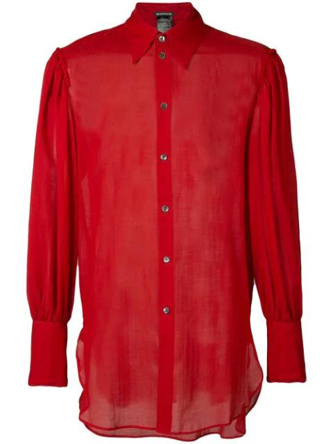 Ann Demeulemeester Oversized Cuffs Shirt In Red
