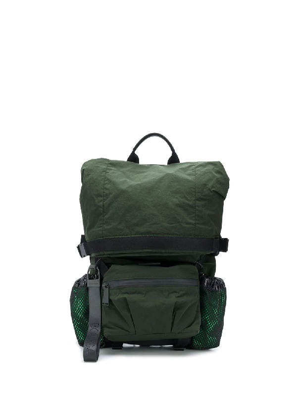 Bottega Veneta Men's Rolltop Nylon Backpack In Green