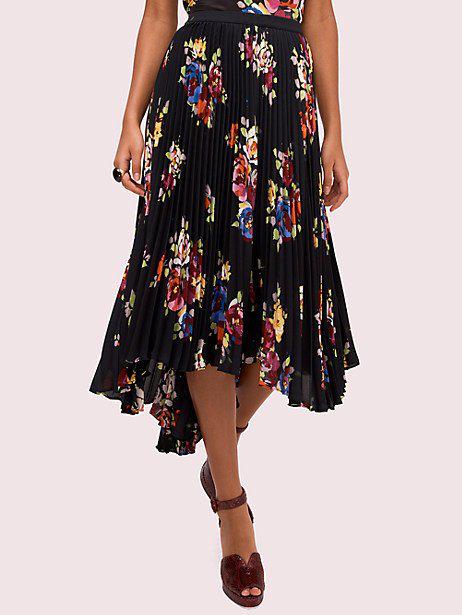 Kate Spade Rare Roses Pleated Asymmetric Midi Skirt In Black