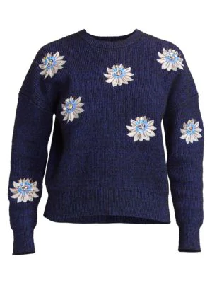 Kenzo Sequin Passion Flower Ribbed Sweater In Black