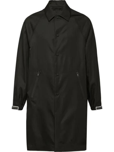 Prada Gabardine Raincoat In Black