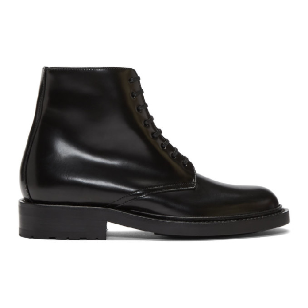 Saint Laurent Army Polished-Leather Ankle Boots In 1000 Black