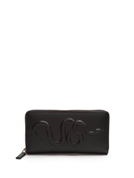 c84bd2c76a31 Gucci Snake Embossed Zip Around Wallet In Black | ModeSens