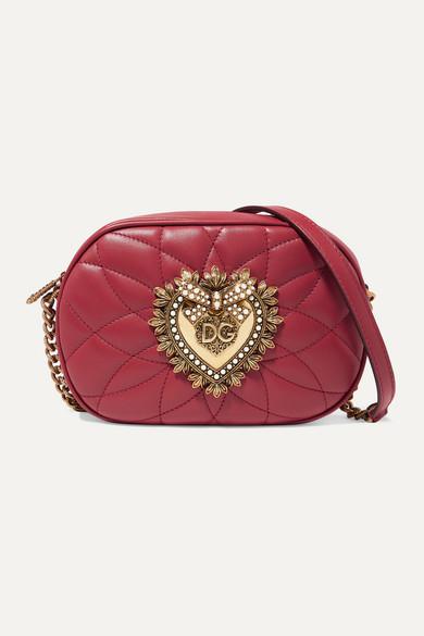 Dolce & Gabbana Devotion Embellished Quilted Leather Shoulder Bag In Red