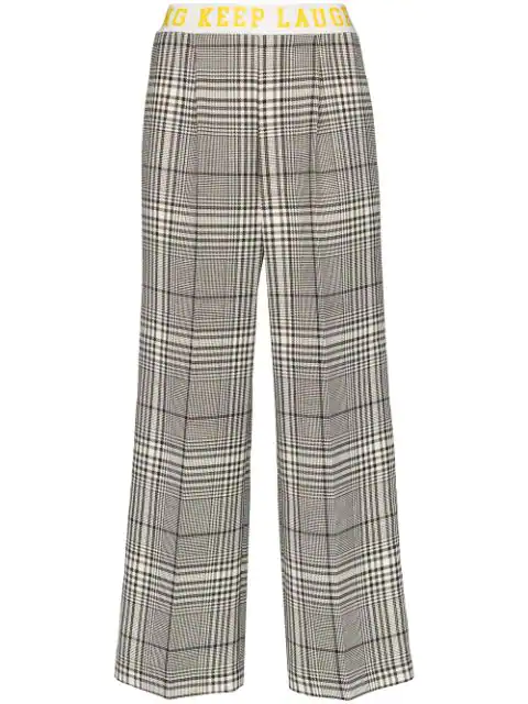 Mira Mikati Contrast Stripe Check Trousers In Black