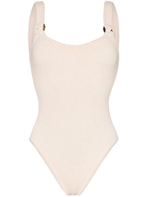 Hunza G Domino Crinkle-effect Swimsuit In Neutrals