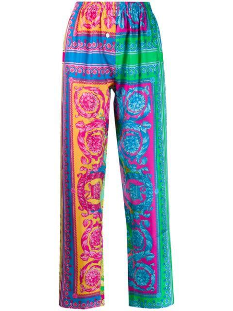 Versace Printed Detail Lounge Pants In Blue