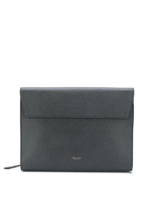 Pineider Zip-around Folio Bag In Black