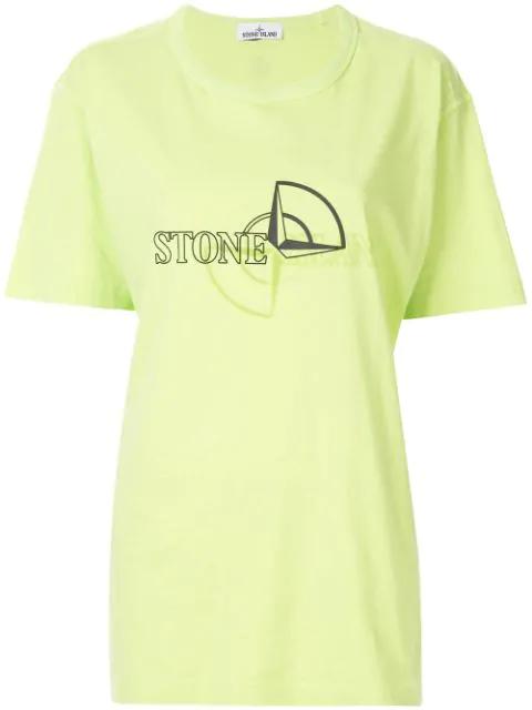 Stone Island Logo Print T-shirt In Green